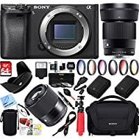 Sony a6300 4K Mirrorless Camera Body w/ APS-C Sensor (ILCE-6300) with Sigma 30mm F1.4 DC DN Lens Bundle