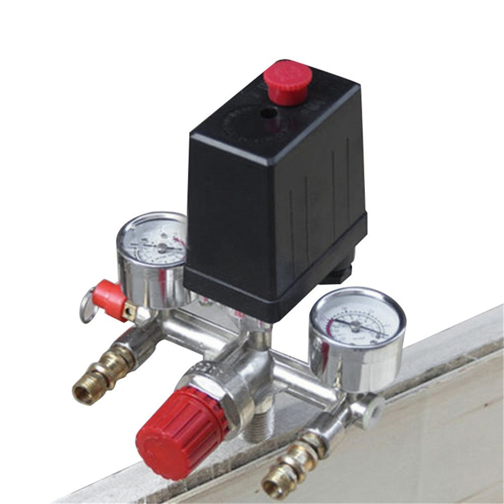 Air Compressor Pressure Control Switch Valve Manifold Regulator w/Gauges Relief Safety Valve Fittings Set