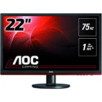 """AOC G2260VWQ6 21.5"""" Gaming Monitor FHD 1920x1080, 1ms, Freesync 75Hz, Anti-Blue Light, Flickerfree, DisplayPort/HDMI/VGA, Vesa,Black"""