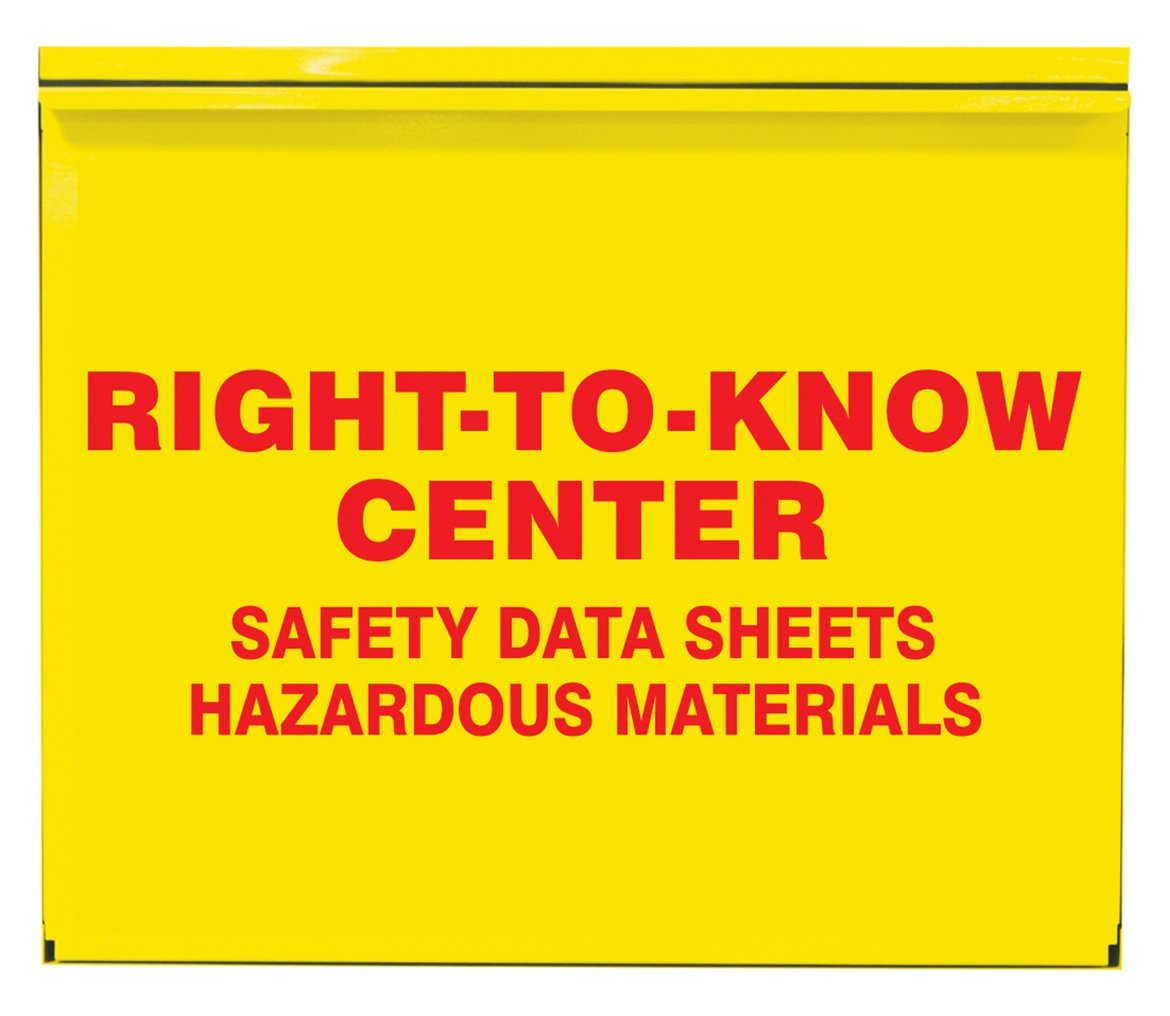 Accuform ZRS384 Right-to-Know Center, 0.035'' Thick Steel Cabinet with (2) 2-1/2'' SDS 3-Ring Binder, (1) Haz-Com/Haz-Mat Poster Included, 22.5'' x 26.5'' x 5'', Red on Yellow