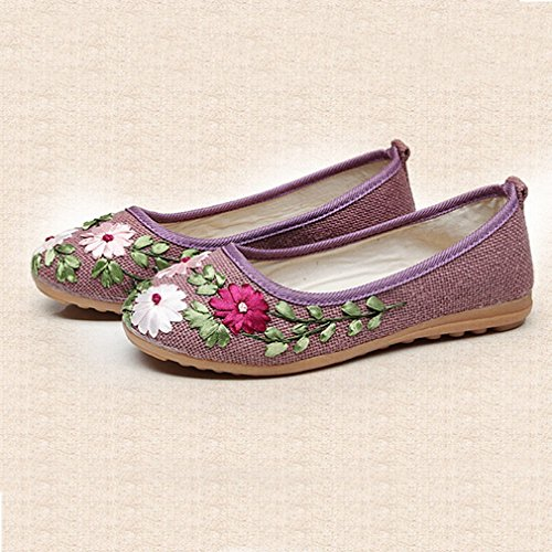 Mocassini Donna Giulia Mocassino Piatto Esotico Slip-on Punta Rotonda In Lino Fiori Abito Casual Mocassino Oxford Scarpe Viola