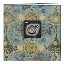 Pioneer 12-Inch by 12-Inch Postbound Frame Front Memory Book, Globes Design