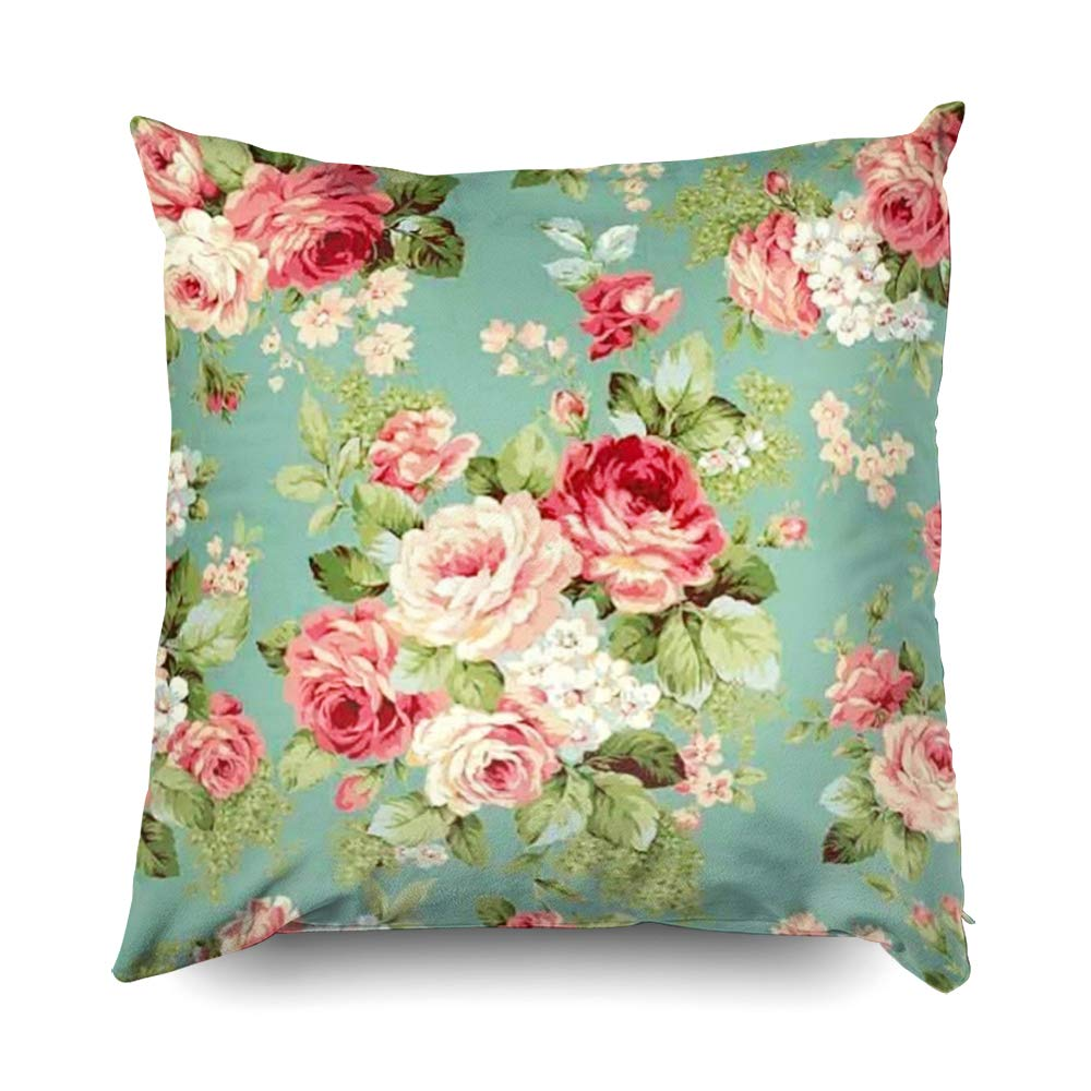 TOMWISH Hidden Zippered Pillowcase Vintage Pink Roses on Green Wallpaper Print 20X20Inch,Decorative Throw Custom Cotton Pillow Case Cushion Cover for Home ...