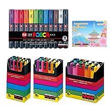 Uni-posca Paint Marker Pen BUNDLE SET , Mitsubishi Pencil Uni Posca Poster Colour Marking Pens Extra Fine Point 12 Colours , Fine 15 , Medium 15 , Bold 15 , 5 Colors Sticky Notes - Japan Import