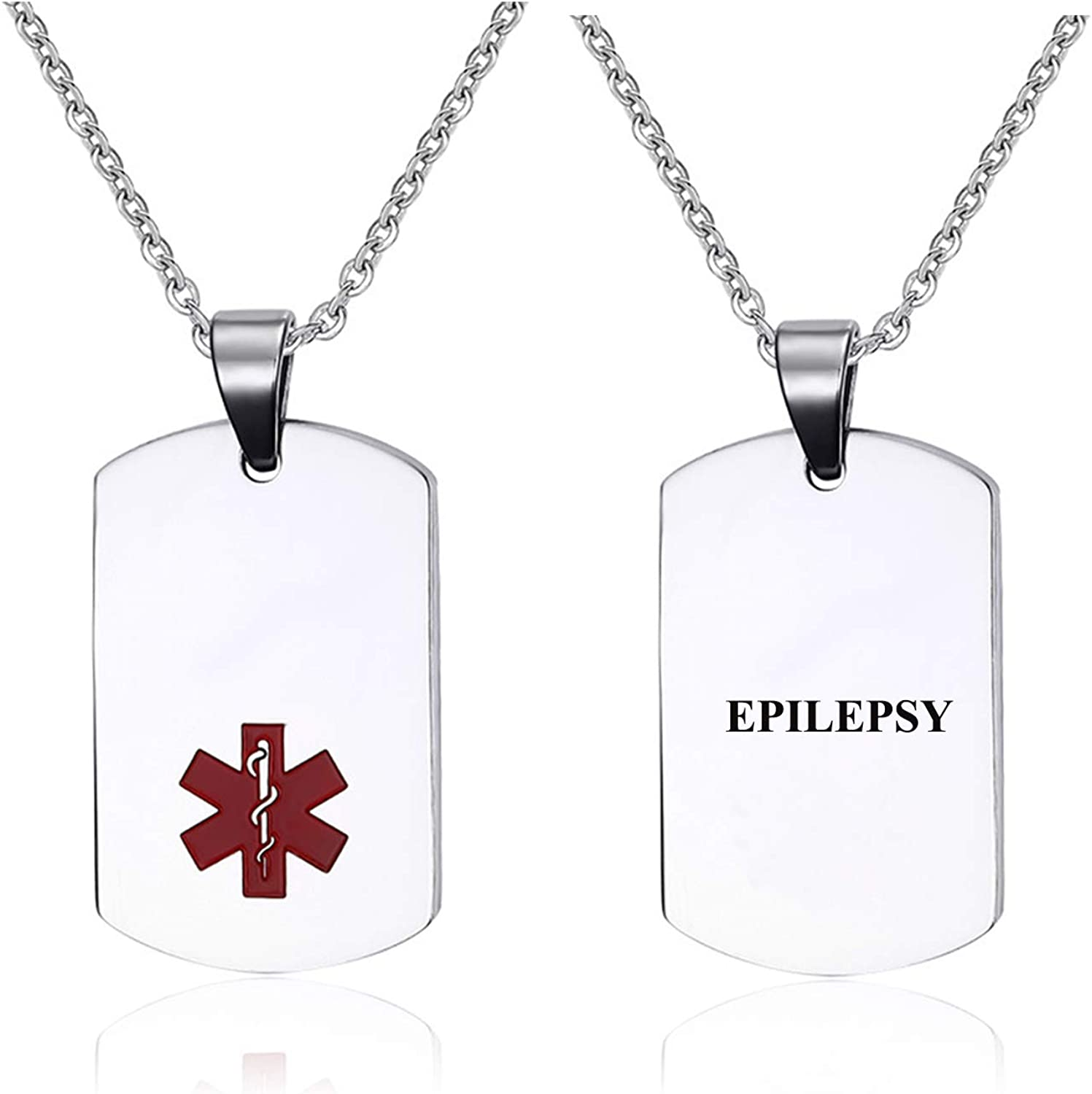 Pre-Engraved Stainless Steel Emergency Medical Alert ID Dog Tag Pendant Necklace for Men & Women