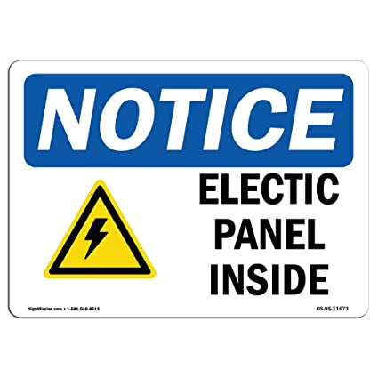 OSHA Notice Sign - Electrical Panels Inside Sign with Symbol | Choose from: Aluminum,