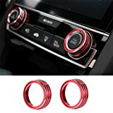 Thenice for 10th Gen Honda Civic Air Condition Knob Cover Trims, Anodized Aluminum AC Switch Temperature Climate Control Rings for Civic 2016 2017 2018 2019