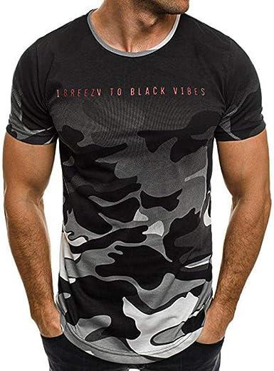 JURTEE Camiseta De Camuflaje Hombre Militares Cuello Redondo Remera Deporte Camisa De Manga Corta Slim Fit Casual Tops Blusa: Amazon.es: Ropa y accesorios