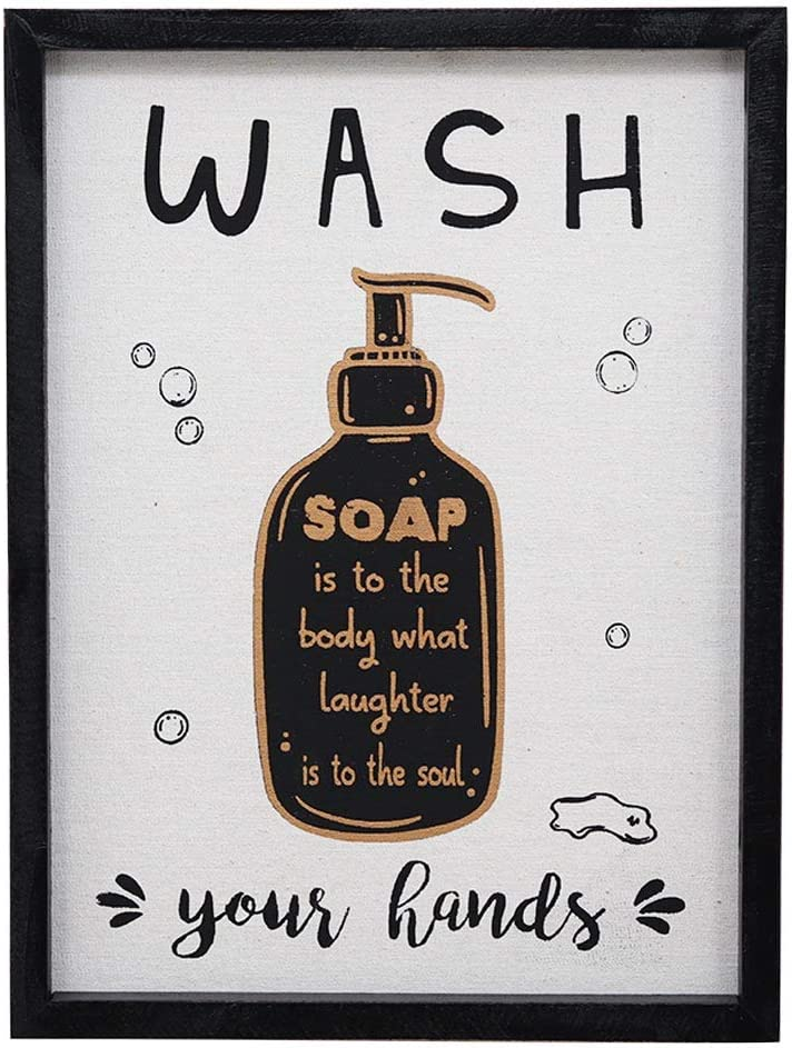 Fun Bathroom Wood Framed Wall Art Sign Decor with Quote Printed on Burlap, Wash Your Hands, Soap is to The Body What Laughter is to The Soul