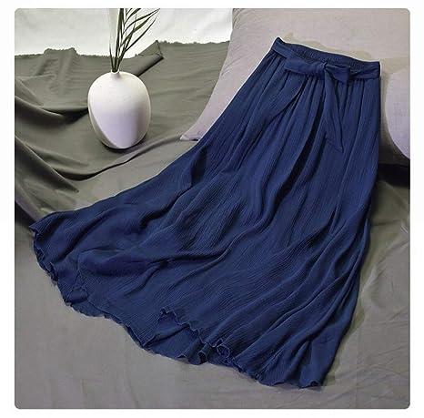 HEHEAB Falda,Azul Oscuro para Mujer Vintage Plisado Midi Falda ...
