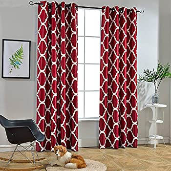 Melodieux Moroccan Fashion Room Darkening Blackout Grommet Top Curtains, 52  By 96 Inch, Red