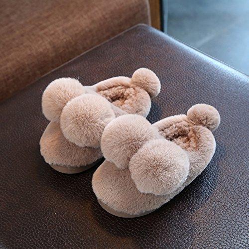 Cotone fankou pantofole femmina inverno soggiorno di una famiglia di tre interne anti-slittamento fondo morbido radice del pacchetto delizioso caldo paio di scarpe di cotone ,28-29 (18cm), la sua