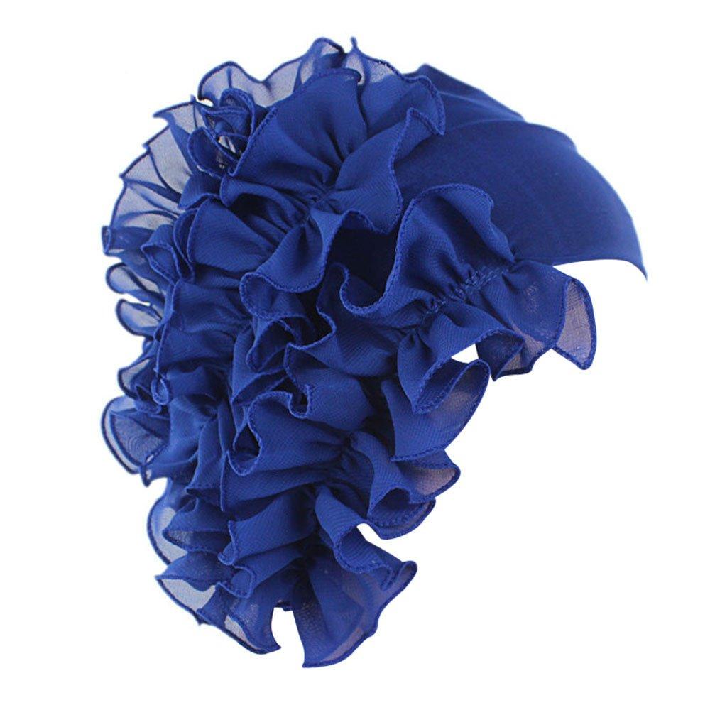 TWGONE Womens Wrap Cap Flower Chemo Hat Beanie Scarf Turban Headband(One Size,Blue)