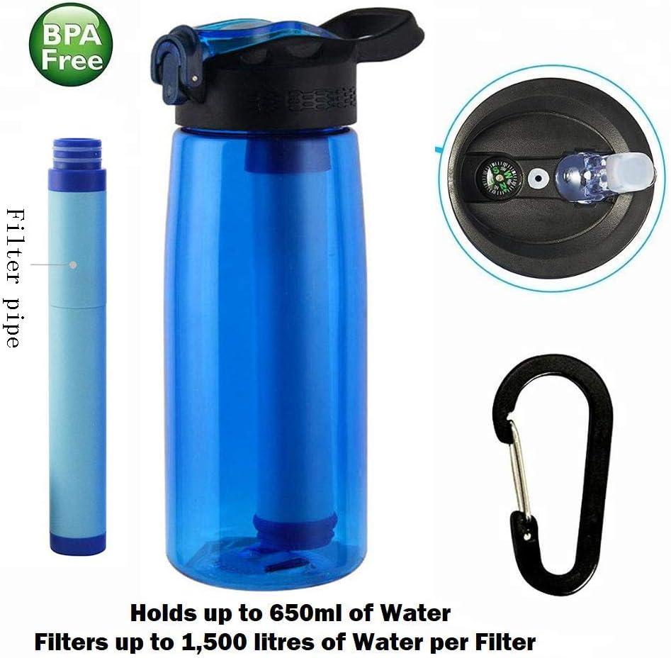 Botella de Agua con Filtro, 2 Etapas Filtro Personal Integrado Paja para IR de Excursión Camping y Viajes - Supervivencia o Filtro de Emergencia- Botella de Agua Libre de BPA Y brújula