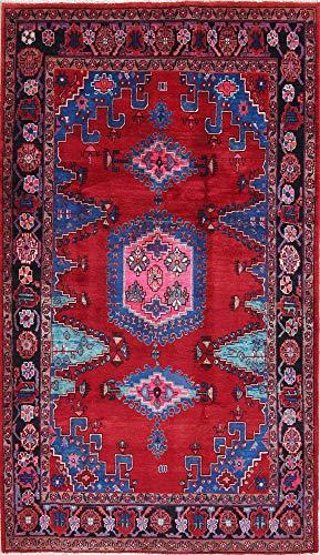 Rug Source One-of-A-Kind Viss Handmade 5x8 Red Wool Vintage Persian Oriental Area Rug (8' 3