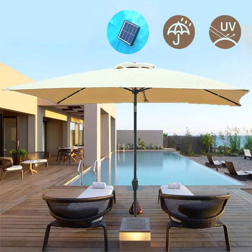 MZYKA Cortina Parasol por un Sol de Jardín, 2 x 3 m Rectangular Ajustable inclinable toldo del Sol Protección UV solares con Luces LED, para al Aire Libre Playa Campamento Parasol, la manivela,Beige