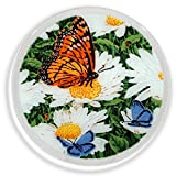 Peggy Karr Glass Handcrafted Art Glass Daisies and Butterflies 11'' Round Plate, Multicolor Floral Design