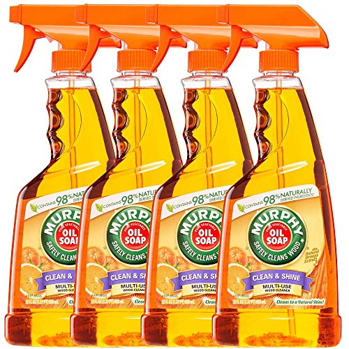 Murphy Oil Soap Clean & Shine, Multi-Use Wood Cleaner Spray with Natural Orange Oil - 88 Fl Oz - 4 Pack x 22 Fl Oz / 650 mL Each