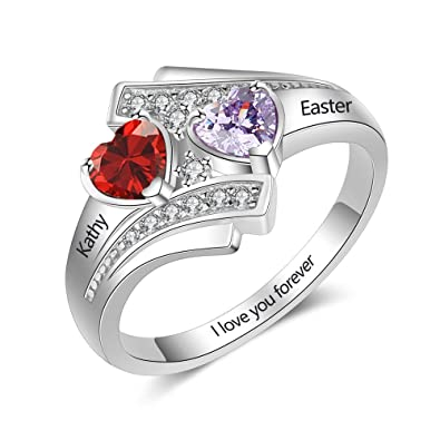 201729a582 Engagement Promise Ring for Her 2 Simulated Birthstone Engrave Names Ring  Women Heart Jewelry Gifts (