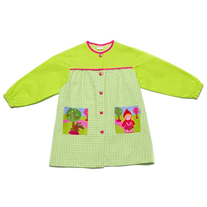 Dyneke Bata escolar botón verde Caperucita (Talla 2)