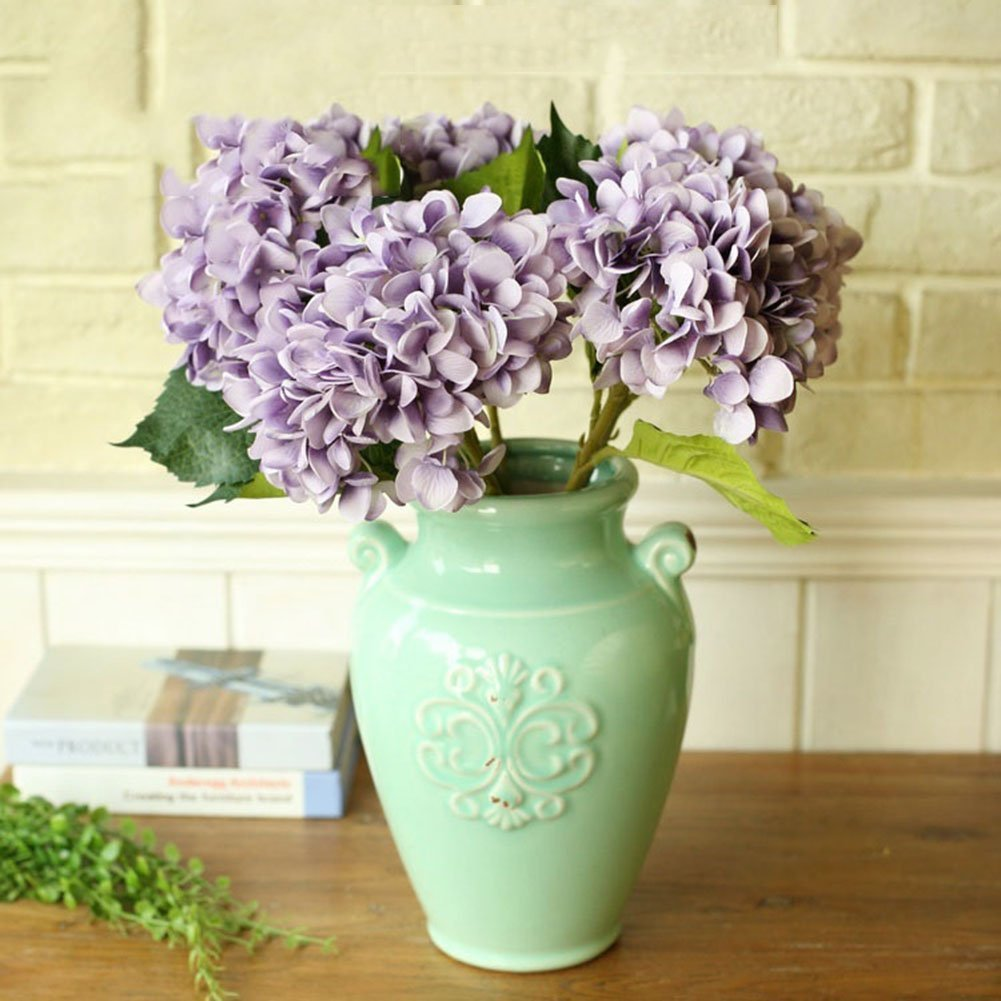 YSBER 3 Big Heads Artificial Hydrangea Silk Fake Flowers Bunch Bouquet Home Hotel Wedding Party Centerpieces Garden Floral Decor(Purple)