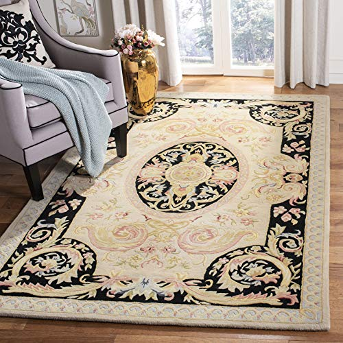 Safavieh Savonnerie Collection SAV206A Handmade Traditional European Ivory and Gold Wool Area Rug (3' x 5') (Rug Savonnerie)