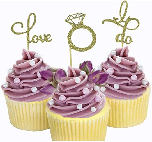 Amazon Com Cheeseandu 30pcs Gold Glitter Love I Do Cupcake