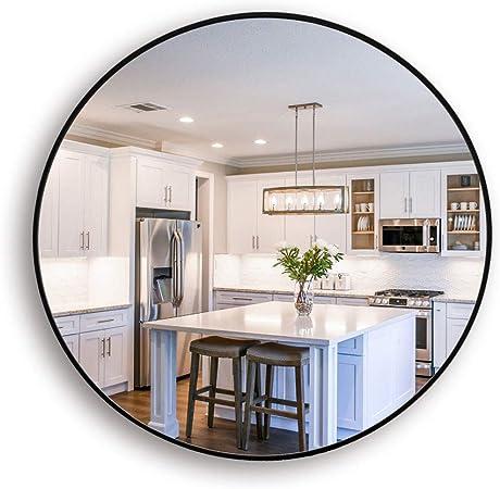 Muzilife - Espejo redondo de cristal, diámetro de 40 cm, HD, espejo de pared con marco de metal, para vainilla, cuarto de baño o dormitorio (negro), Negro , 40 x 40 cm: Amazon.es: Hogar