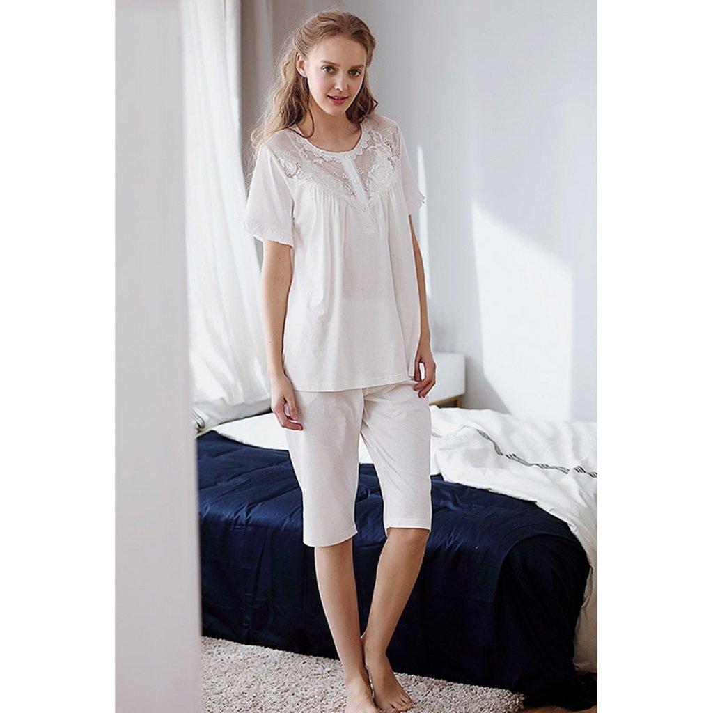 Pijama de princesa verano de encaje de verano princesa traje de manga corta de algodón blanco ( Size : L ) 8dd9c6