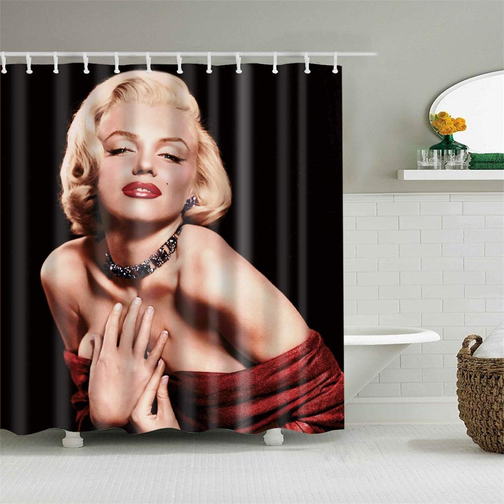 Frank Home Shower Curtain Set with Hooks Marilyn Monroe Bathroom Decor Mildew Resistant Antibacterial Waterproof Polyester Fabric Bathroom Accessories Bath Curtain 72 x 72 inches