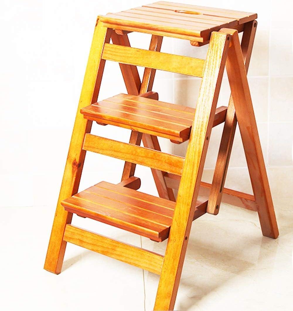 Oudan Taburete de Madera 3 peldaños Plegables 2 con Taburete de Escalera Marco de Escalada de Interior multifunción Tamaño 42X56X66Cm (Color : Un Color, tamaño : UN TAMAÑO): Amazon.es: Hogar