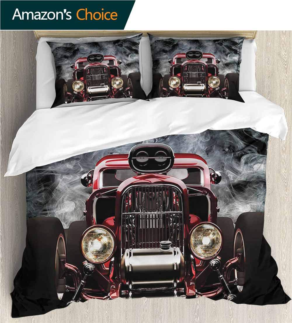Bedspread Set Queen Size,Box Stitched,Soft,Breathable,Hypoallergenic,Fade Resistant Print,Decorative Quilted 2 Piece Coverlet Set With 2 Pillow Shams-Classic Car Cool Vintage Vehicle (80''W x 90''L) by VROSELV-HOME