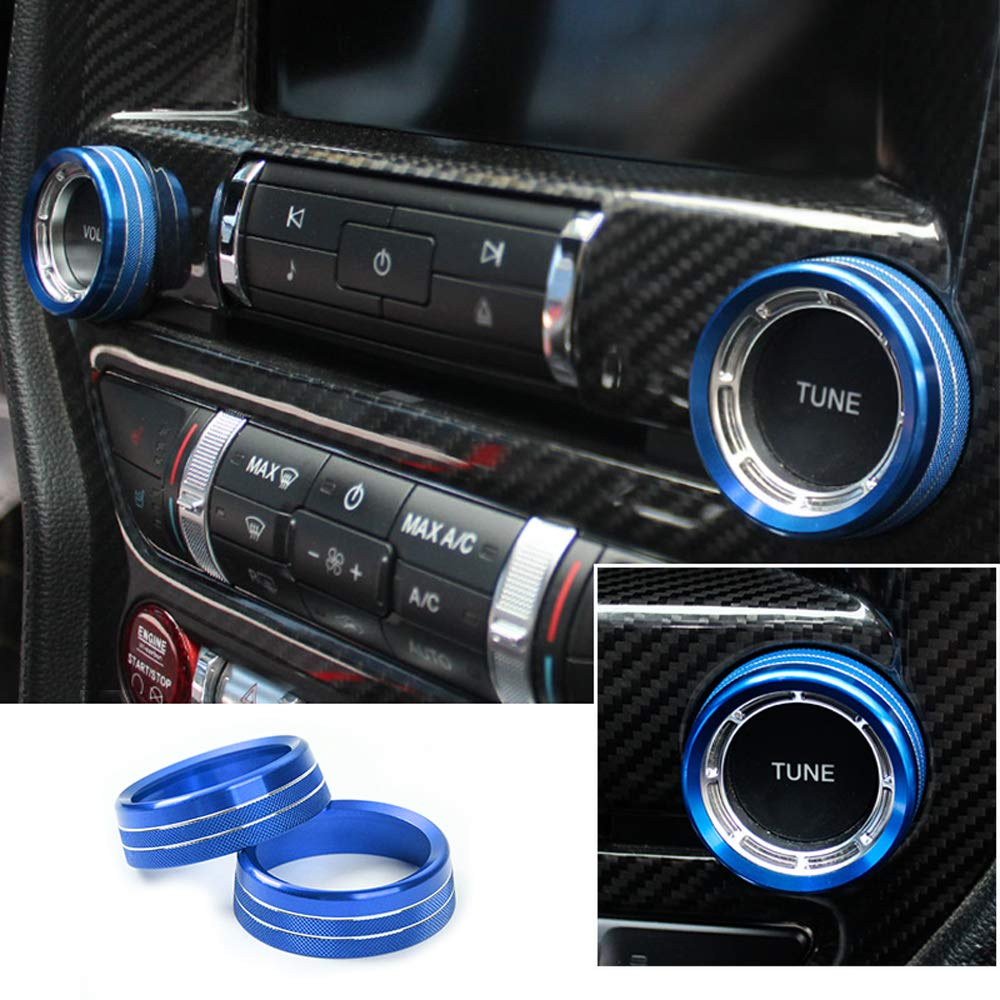 AIRSPEED Voice Volume Control Tune Knob Switch Cover Decoration Ring Trim for 2015-2018 Ford Mustang Red