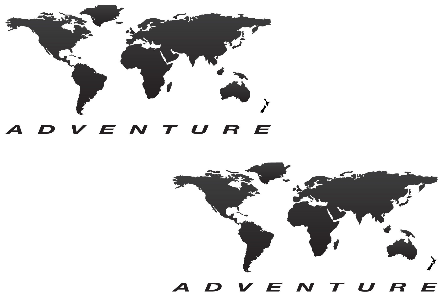 The Pixel Hut gs000026b Adventure Motorcycle Reflective Decal Kit ''World Adventure Map'' for Touratech Panniers - Black