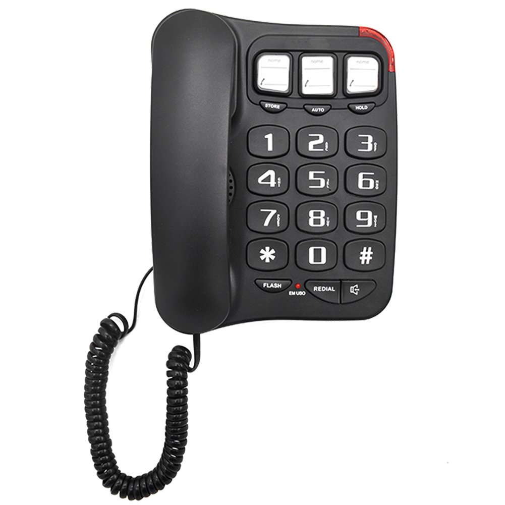 KerLiTar LK-P025B Large Button Corded Phone Picture Phones for Seniors Low Vision Aid(Black)