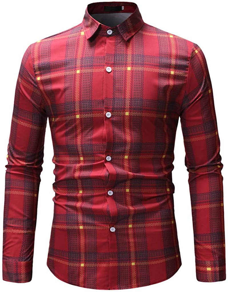 Mens Standard-fit Long Sleeve Plaid Button-Down Shirts Casual Male Slim Shirts Tops