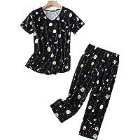 HOWINCO Pajamas for Women Cute Prints Tops with Capri Pants Two Piece PJ Sets Plus Size Cotton Sleepwear