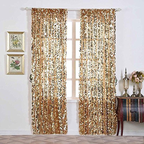 - Efavormart 2 Panels Gold Big Payette Sequin Room Darkening Window Treatment Panel Drapes with Rod Pockets 52