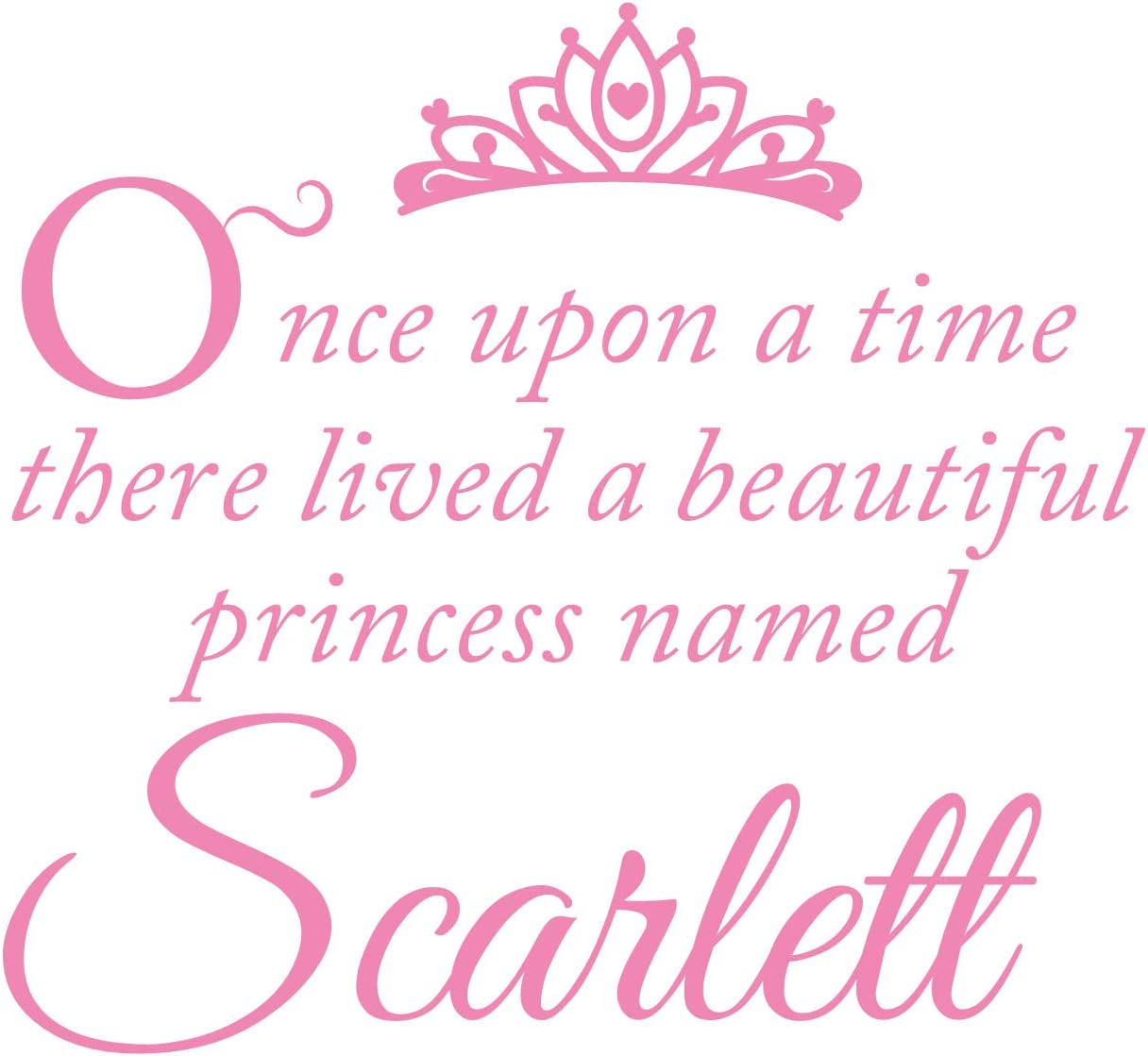 Once Upon A Time Wall Decal is a Vinyl Wall Decal Displaying a Girl Name Art, Great Sign, Accessories or Decoration for a Little or Big Girl Room, Similar to Sticker or Poster - Soft Pink