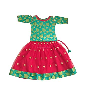 711cdedfc1 Image Unavailable. Image not available for. Color: Pattu Pavadai Green and  Red Netted Fancy Langa for Indian Baby Girls and Kids