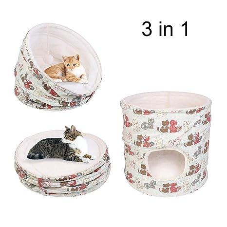 UNHO 2 en 1 Cama para Gatos Cómoda Casa para Perros Pequeños Canasta Plegable y Desmontable para Mascotas Cama Cueva de Gatos con Pelota Color Beige