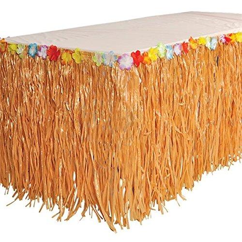 Luau Table Skirt Hula Grass With Tropical Flowers –9' X 29