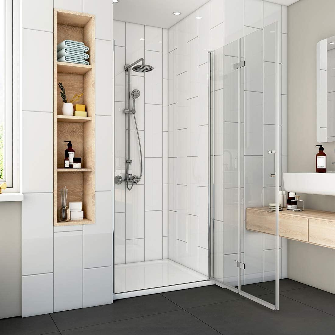 Cabina de ducha plegable, puerta de ducha, mampara de ducha, puerta oscilante de 180°, cristal de seguridad de 6 mm con nano-revestimiento a ambos lados hacia el interior y hacia el exterior:
