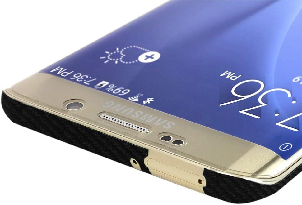 Skinomi Black Carbon Fiber Full Body Skin Compatible with Samsung Galaxy S6 Edge+ TechSkin with Anti-Bubble Clear Film Screen Protector Full Coverage
