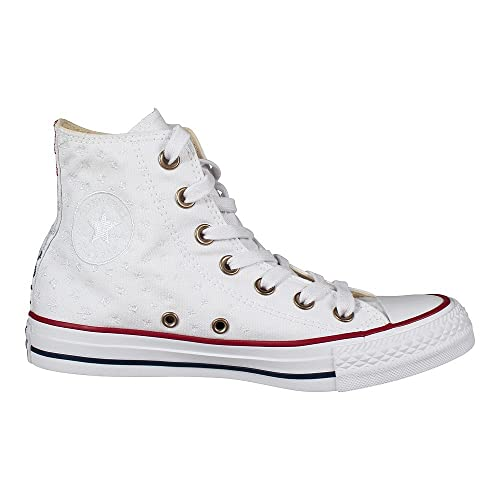 4d0f5389911 Converse Womens Chuck Taylor All Star Hi White Casino Red Canvas Trainers 6  US