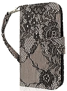 myLife Black Flower Lace Faux Leather Card and Cash Holder Wallet