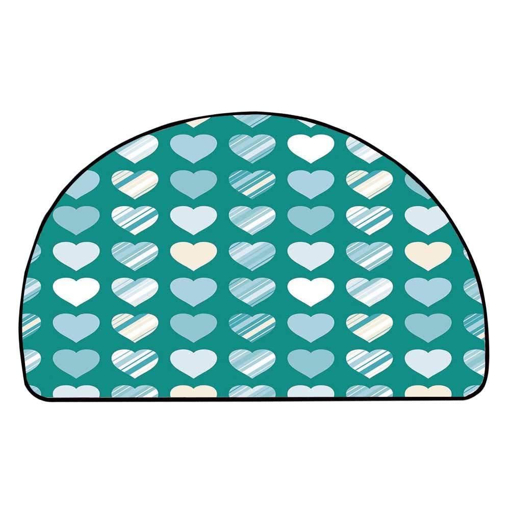 C COABALLA Romance Comfortable Semicircle Mat,Heart Figures Lovers Famous Symbol Universal Sign Symbolic Design for Living Room,11.8'' H x 23.6'' L