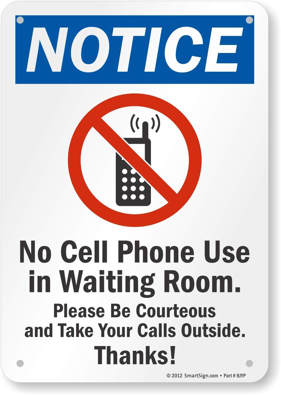 Amazon.com: Aviso – No Cell Phone uso en sala de espera. Por ...