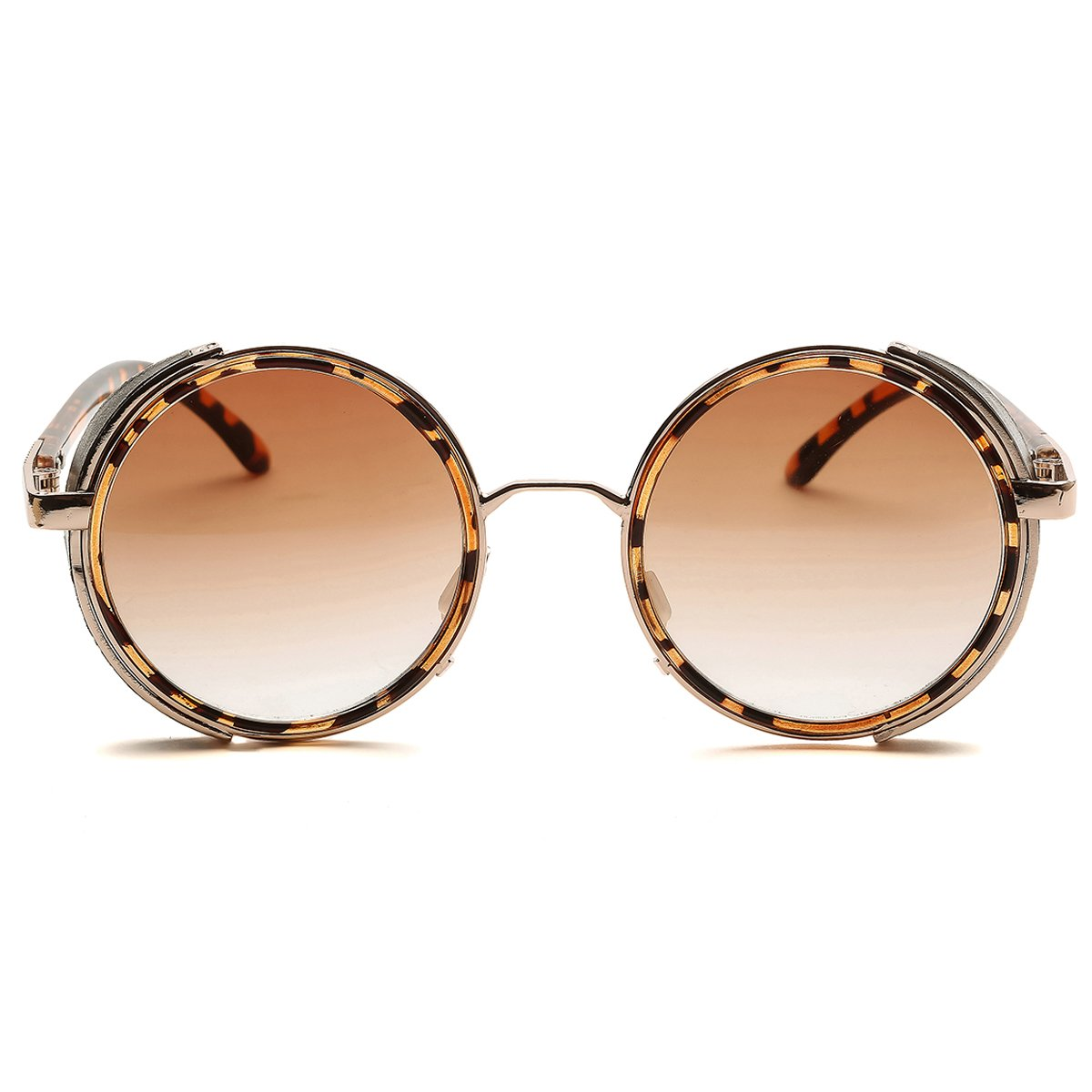 46a8c2d4ae3 Dollger Steampunk Vintage Retro Sunglasses Metal Circle Frame(Brown Lens+Brown  Frame)  Amazon.co.uk  Clothing