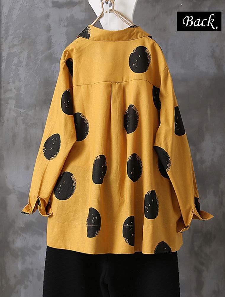 FTCayanz tunika tröjor i bomull för kvinnor lösa vardagliga prickiga blustoppar Röd